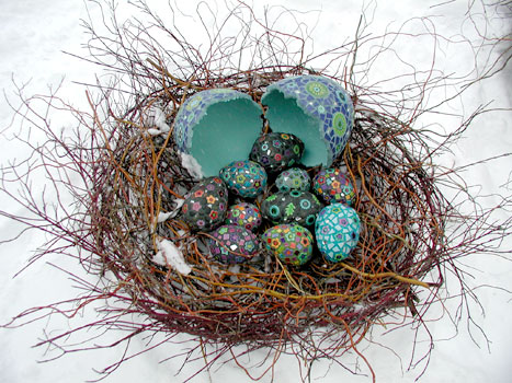 Mosaic eggs by Clare Dohna.